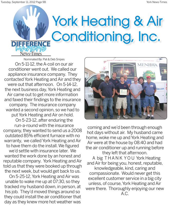 Difference Maker York Heating and A/C